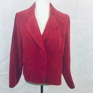 RQT Red Corduroy Blazer with Square Buttons Petite